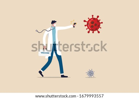 Fighting to stop COVID-19 Coronavirus world pandemic outbreak concept, doctor full protective gear, vaccine box holding infrared thermometer to measure temperature as a gun to fight virus pathogen.