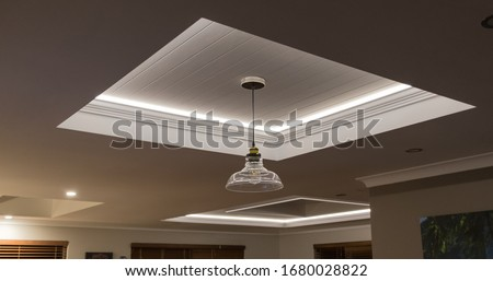 Decorative recessed ceiling with LED strip lighting (Secret Lighting) Royalty-Free Stock Photo #1680028822