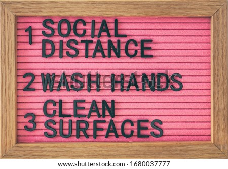 Coronavirus COVID-19 Prevention sign for social distance, hand hygiene, sanitisation of surface. Self isolation and stayin home social distancing, washing hands frequently, cleaning surfaces. #1680037777
