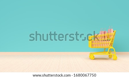Online shopping concept. Shopping cart with bags and boxes on mint green wall background. 3d illustration. Royalty-Free Stock Photo #1680067750