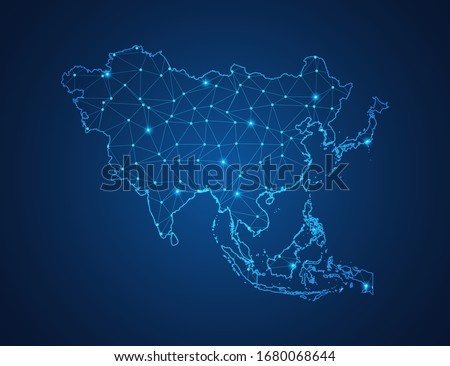 Business map of Asia modern design with polygonal shapes on dark blue background, simple vector illustration for web sitedesign, digital technology concept. Royalty-Free Stock Photo #1680068644