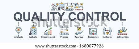Quality control banner web icon for Business and industry, analysis, quality, guarantee, process, check, approve, customer and satisfaction. Minimal vector cartoon infographic. #1680077926
