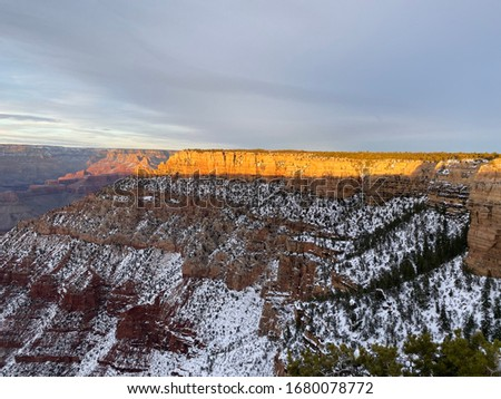 Rare pic of snow on Canyon at sunset!