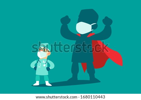 Brave doctor wearing medical mask and protection suit with his shadow as superhero. COVID-19 outbreak medical staff. #1680110443