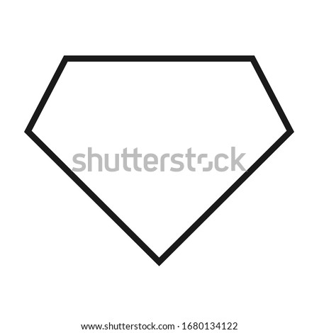 Comic hero icon, symbol shield. Isolated vector on white background