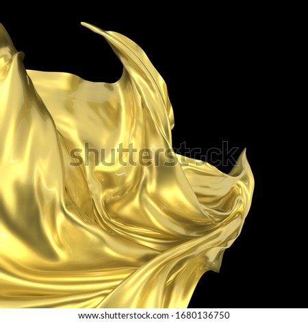 Beautiful golden wavy fabric with metal texture and varnished surface. Clean black background. Flowing element for graphic design. Little sparkles under a layer of varnish. 3d rendering image. #1680136750