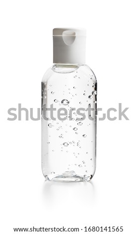Coronavirus prevention hand sanitizer gel in bottle. Hand disinfectant gel isolated on white background. #1680141565
