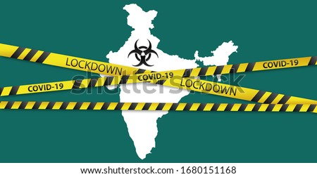 Concept of India national lockdown due to coronavirus crisis covid-19 disease. India announce movement control order emergency state restrictions to combat the spread of the virus. #1680151168
