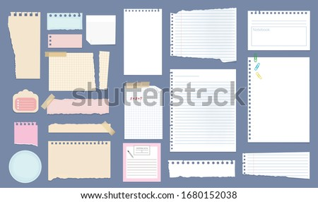 Paper notes. Copybook linear pages lists of notebooks different sizes stripped notes vector #1680152038