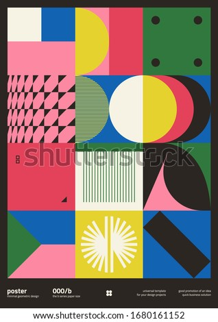 Brutalism inspired graphic design of vector poster cover layout made with vector abstract elements and geometric shapes, useful for poster art, website headers, front page design, decorative prints. #1680161152