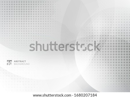 Abstract background white and gray curve circle with haltone. Vector illustration #1680207184