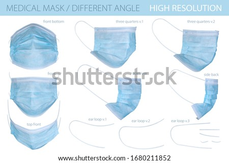 Medical mask isolated on white background, isolated mockup. Medical mask whith clipping mask. Surgical mask with rubber earloop, template for design. Coronavirus protection with clipping path, closeup