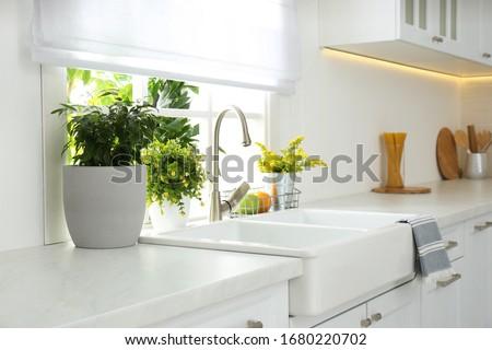 Beautiful white sink near window in modern kitchen Royalty-Free Stock Photo #1680220702