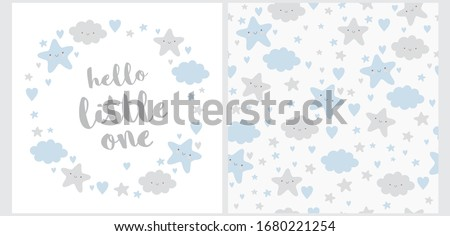 Hello Little One. Lovely Baby Shower Illustration and Seamless Vector Pattern. Wreath Made of Cute Stars, Fluffy Clouds and Sweet Hearts. Happy Sky Vector Print. Funy Nursery Art Ideal for Card. Royalty-Free Stock Photo #1680221254