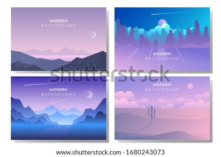 Vector backgrounds. Minimalist style. Flat concept. 4 landscapes collection. Mountains lake, Night desert, Moonlight night, Starry sky #1680243073