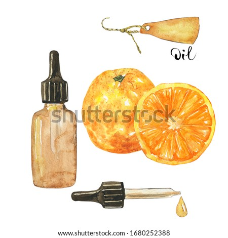 Essential oil of orange fruit in glass brown bottle isolated on white background. Watercolor hand drawing illustration. Clip art for medicine, healthy food, covers, cards.