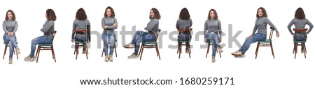 collage of a woman sitting on a chair in white background, profile, front and back Royalty-Free Stock Photo #1680259171