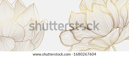 Luxury wallpaper design with Golden lotus and natural background. Lotus line arts design for wall arts, fabric, prints and background texture, Vector illustration. Royalty-Free Stock Photo #1680267604