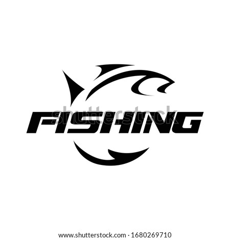 Fishing hobby logo template in black. Fish hunter.