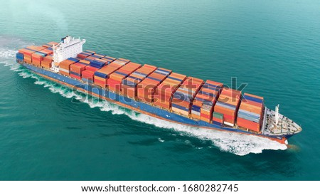 aerial top view container ship Park for import export logistics in  pier, thailand. #1680282745