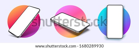 Realistic smartphone mockup. Device UI/UX mockup for presentation template. . Cellphone frame with blank display isolated templates, phone different angles views. 3d isometric illustration cell phone Royalty-Free Stock Photo #1680289930