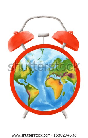Earth globe using a clock alarm face. Environmental issues. Urgent Earth danger, wake- up call concept. Clip art on white background