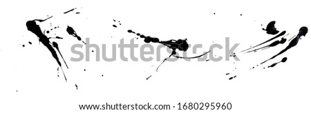abstract ink black of stain or splash black watercolor paint and liquid Ink splash splatter is calligraphy of scatter watermark line brush for concept design isolated on white background,clipping path