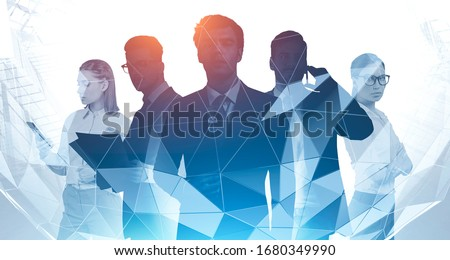 Partnership and success concept. Silhouettes of confident business people with double exposure of abstract cityscape. Toned image #1680349990