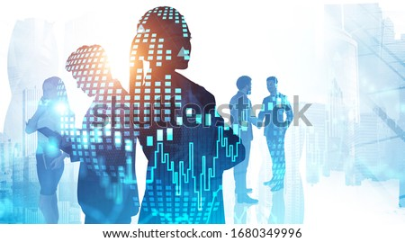 Global world and teamwork concept. Silhouettes of business people in abstract city with double exposure of blurry digital chart and planet hologram. Toned image #1680349996