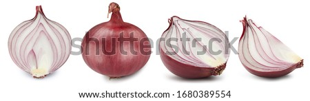 Collection onion. Red onion isolated on white background. Green natural onion clipping path. Fresh organic fruit. #1680389554