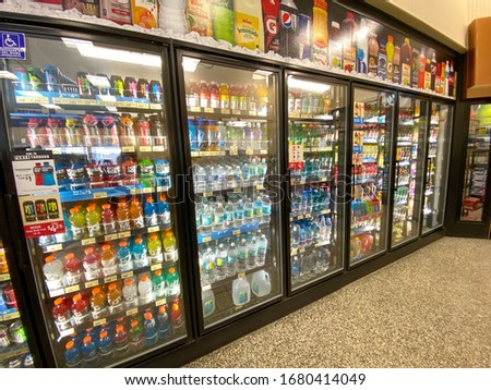 Orlando,FL/USA-12/27/19: The beverage display at a Wawa gas station, fast food restaurant, and convenience store. #1680414049