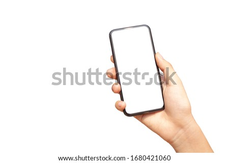 Beautiful female hand with sunlight holding modern mobile phone white screen isolated on white background #1680421060