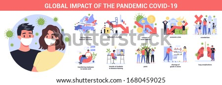 Corona virus or 2019-nCoV pandemic global impact. Closed border, colapsed world market and economic crisis, panic and food shortages, distance work and studying. Isolated vector illustration #1680459025