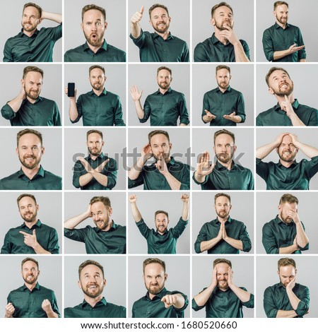 Set of handsome man with different emotions and gestures isolated over gray background Royalty-Free Stock Photo #1680520660