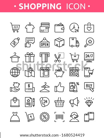 Grocery shop collection. Vector set of line thin online shopping, E-commerce icons with payment, mobile shop, wallet, sale, gift box and tags symbols. Icons for m-commerce, delivery, websites and apps #1680524419