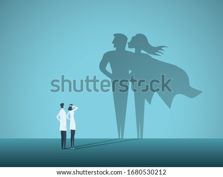 Doctors looking at superhero shadow on the wall. Hospital staff, nurses heroes fight coronavirus pandemic, epidemic. Strong, courage, brave life saving medical concept. Eps10 illustration. #1680530212