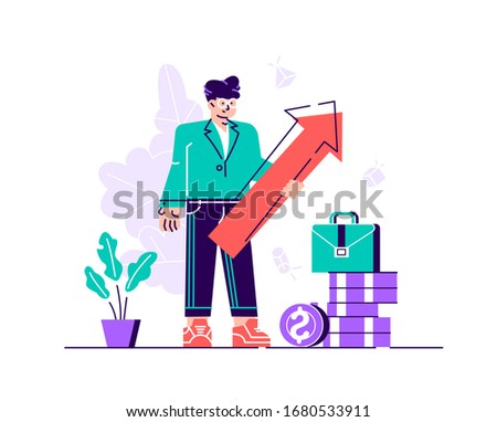 Business man holding arrow pointing right up indicating success. Flat vector illustration. Flat style modern design vector illustration for web page, cards, poster, social media. #1680533911