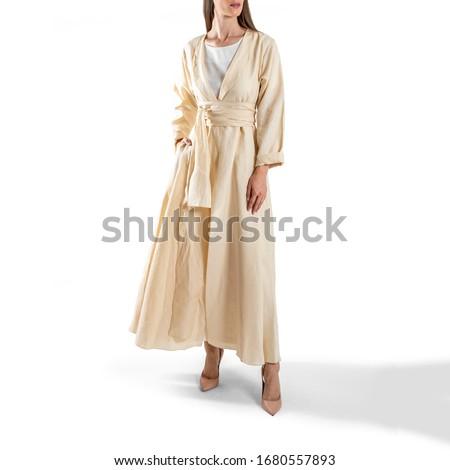 arabic muslim woman in stylish abaya, in white background - Image Royalty-Free Stock Photo #1680557893