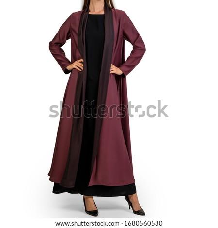Arabic Muslim woman in stylish abaya, in white background - Image Royalty-Free Stock Photo #1680560530