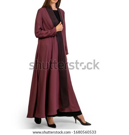 Arabic Muslim woman in stylish abaya, in white background - Image Royalty-Free Stock Photo #1680560533
