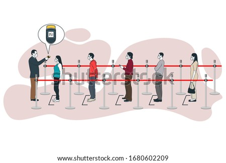 Checking body temperature using thermometer gun on queue people wearing mask during Epidemic Ncov 2019 Coronavirus covid-19 outbreak vector illustration
