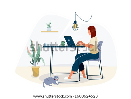 Work at home concept design. Freelance woman working on laptop at her house, dressed in home clothes. Vector illustration isolated on white background. Online study, education. Royalty-Free Stock Photo #1680624523