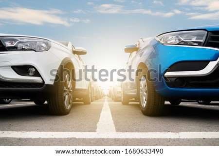 New cars in stock. Automotive industry Royalty-Free Stock Photo #1680633490