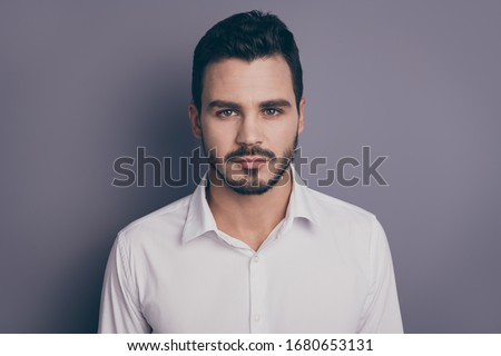 Closeup photo of young handsome serious business man bossy employer investor attentively look listen colleagues wear white office shirt isolated grey color background #1680653131