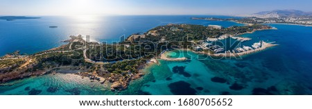Panoramic aerial view to the Lemos area at Vouliagmenis district, south Athens riviera with beaches, yacht marinas and hotels, Greece #1680705652