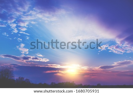 Colorful cloudy sky at sunset. Gradient color. Sky texture, abstract nature background #1680705931