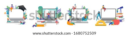 E-learning, online education at home. Modern vector illustration concepts for website and mobile website development #1680752509