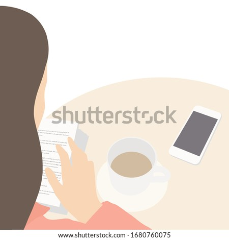On a white monochrome background, a young girl is sitting at a round table with a phone and a cup of tea (or coffee), holding a book and reading it #1680760075