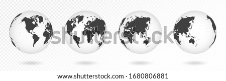 Set of transparent globes of Earth. Realistic world map in globe shape with transparent texture and shadow. Abstract 3d globe icon. Vector #1680806881