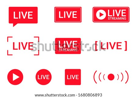 Set of live streaming icons. Red symbols and buttons of live streaming, broadcasting, online stream. Lower third template for TV, shows, movies and live performances. Vector Royalty-Free Stock Photo #1680806893